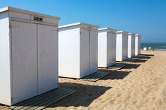 White wooden cabins on the beach in Knokke in Belg Royalty Free Stock Photos