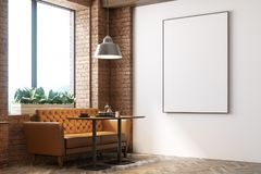 White and wooden cafe, poster side. White and wooden cafe interior with a wooden floor, loft windows, a round table and a sofa. Poster. 3d rendering mock up Royalty Free Stock Images