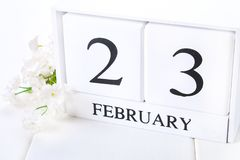 White wooden calendar with black 23 february word with clock and plant on white wood table. White wooden calendar with black 23 february word with clock and Royalty Free Stock Photo