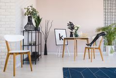 White wooden chair and blue carpet in dining room interior with plants next to table. Real photo.  stock photos