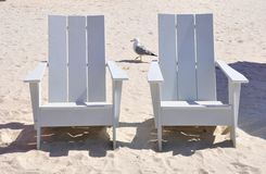 White wooden chairs Royalty Free Stock Image