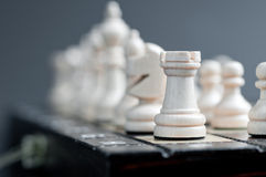 White wooden chess. Close up white wooden chess Royalty Free Stock Photos