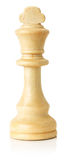 White wooden chess king on the white background Stock Photo