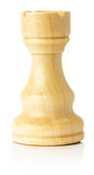 White wooden chess rook on the white background Stock Photography