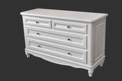 White wooden chest of drawerse isolated on dark grey Stock Images