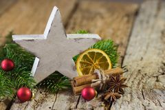 Christmas star with traditional decorations royalty free stock images