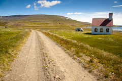 White wooden church in Unadsdalur - Iceland Royalty Free Stock Photography