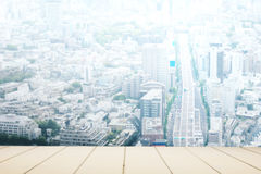 White wooden counter with Tokyo city background. For display Royalty Free Stock Photography