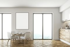 White and wooden dining room and kitchen. Modern dining room interior with white walls, a wooden floor, a wooden table with white chairs near it, a loft window stock illustration