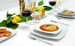 White wooden dinner table Stock Photo