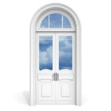 White wooden door with reflected glass Stock Image