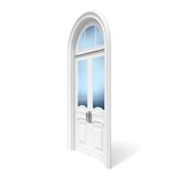White wooden door with reflected glass sections Stock Images