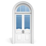 White wooden door with reflected glass sections Royalty Free Stock Images