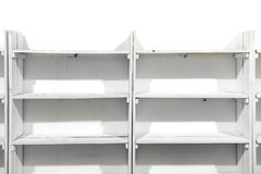 White wooden empty shelves Royalty Free Stock Photos