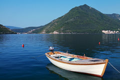 White wooden fishing boat in Perast town Royalty Free Stock Photo