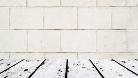 White wooden floor and old wall mural Royalty Free Stock Photos