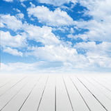 White wooden floor with perspective and sky Royalty Free Stock Image