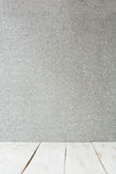 White wooden floor and silver glitter background Stock Photo
