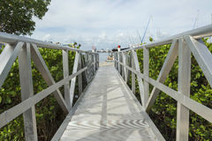 White wooden footbridge leads from the marina to the mainland, Fort Myers. Royalty Free Stock Images