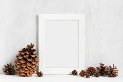 White wooden frame and various pine cones. On the table Stock Photos