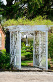 White wooden garden arbor Royalty Free Stock Photos