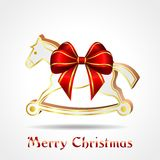 White wooden horse with red ribbon Stock Photography