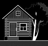 White wooden house with a tree on a black background stock illustration