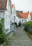 White wooden houses in Stavanger, Norway. stock photos