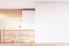 White and wooden kitchen bar, toned Royalty Free Stock Photo