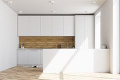 White and wooden kitchen interior, bar Royalty Free Stock Image