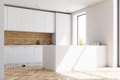 White and wooden kitchen interior, bar side view Royalty Free Stock Photography