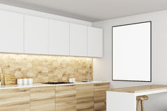 White and wooden kitchen, poster side Stock Image
