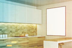 White and wooden kitchen, poster side toned Stock Images