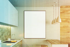 White and wooden kitchen, poster toned Stock Photos