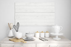 White wooden kitchen table. Close up of a white wooden kitchen counter with a cutting board, kitchenware, utensils. 3d rendering mock up Stock Image