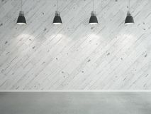 Laminate wall and lamps. White wooden laminate wall and lamps Royalty Free Stock Photo