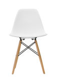 White wooden leg chairs isolated on white background. With clipping path Stock Images
