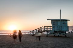 White Wooden Lifeguard Shed Stock Image