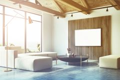 White and wooden living room corner, poster toned Stock Images