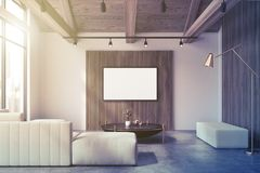 White, wooden living room, white sofa poster toned Royalty Free Stock Photos