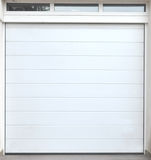 White wooden and metal garage gate, background photo Stock Photos