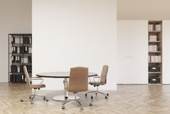 White and wooden office, bookcases Stock Photography