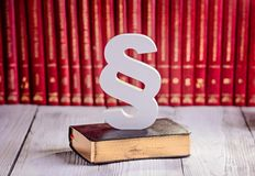 White wooden paragraph the symbol of law Stock Image