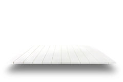 White wooden plank shelves on white background. For product display Stock Photography