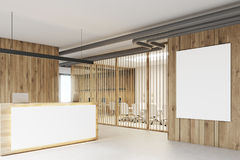 White and wooden reception, meeting room Royalty Free Stock Photos
