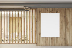 White and wooden reception, meeting room poster Stock Image