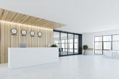 White and wooden reception, meeting room, side Stock Photo