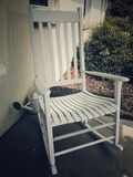 White Wooden Rocking Chair Stock Photo