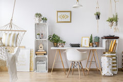 White and wooden room stock image