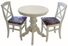 White wooden round table with two chairs Stock Image